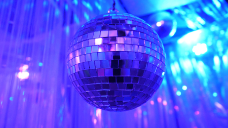 Disco Background with Shiny Retro Disco Ball. Great Background for Disco Party or Small Karaoke Event. Blue Theme. Blue disco ball. Stock Photo