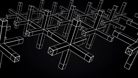 Abstract animation of movement of geometric shapes on a black background. Geometrically complex shapes