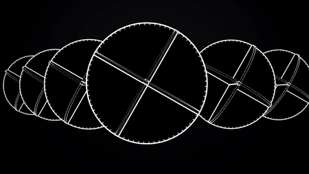 Animation of intersecting white circles. Abstract animation of rotating complex geometric shapes on a black background Stock Photo