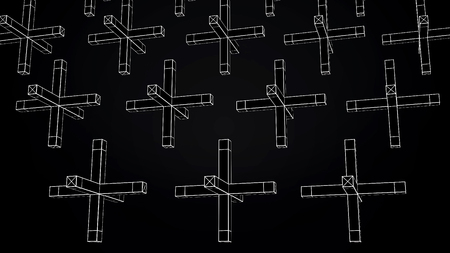 Abstract animation of movement of geometric shapes on a black background. Geometrically complex shapes. Stock Photo