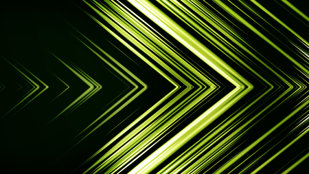 Green Arrow Horizontal Wipe. Abstract background of lines in shape of arrow. Futuristic colors Stock Photo