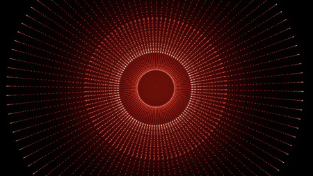 Glowing abstract curved lines. Animation of twisting lines and circles on black background