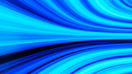 Perspective wide angle view of modern light blue illuminated. Abstract movement of lines 스톡 콘텐츠