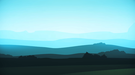 Animation moving of landscape in cartoon style. Digital design concept. Animation mountains background loop Stock Photo
