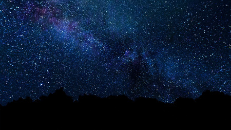 Milky Way, trail star galaxy and stars moving across night sky. Abstract night sky background with stars and milky way
