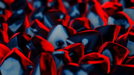 Abstract animation of crystals. Crystals turning over on one plane in form of smoldering embers with red-blue faces Imagens
