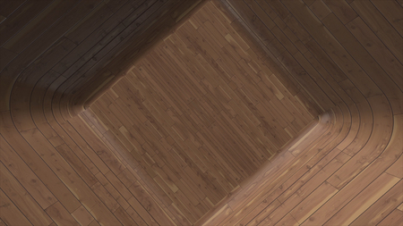 Abstract animation of wooden surface. Closeup of wooden surface of bottom of cubic shape Stock Photo