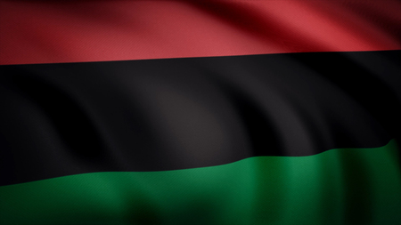 Pan-African flag. Consisting of three equal horizontal stripes red black green flag. Animation of satin detailed official flag-symbol of African race Фото со стока