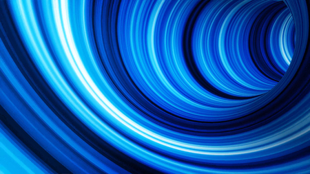 Tunnel animation. Abstract background of blue light bands movement in three-dimensional tunnel animation. Futuristic style of flying through hyperspace Imagens - 124808030