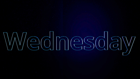 Animation day of week Wednesday. Movement of word Wednesday with bright contours on black background.