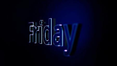 Proiezione di sfondo animato dinamico della parola venerdì. Parola di animazione venerdì. Contorno al neon della parola venerdì. Archivio Fotografico