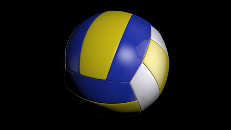 Volleyball Ball. Dark blue, yellow Volley-ball ball. Leather volleyball