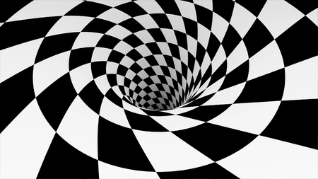 Animated hypnotic tunnel with white and black squares. Striped optical illusion three dimensional geometrical wormhole shape pattern motion graphics. Optical illusion created by zoom in of black and white squares. Black and white hypnotic spiral