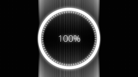 Futuristic circle with a ring indicator showing progress from 0 until 100 percent. Science Futuristic Loading Circle Ring. Interface download percent. Loading Transfer Download Animation 0-100. Loading bar animation.