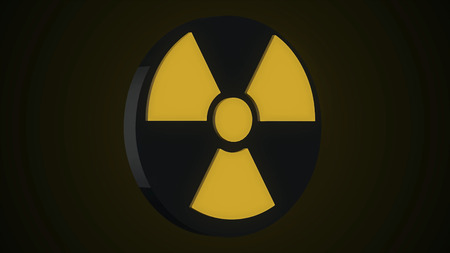 Round Rotating Nuclear and Biohazard Sign. Grunge biohazard symbol. Nuclear reactor symbol. Grunge biohazard sign. Stock Photo