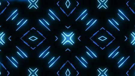Kaleidoscopes background with animated glowing neon colorful lines. Kaleidoscopes background with animated glowing neon colorful lines and geometric shapes.