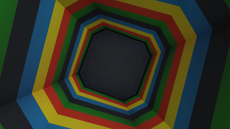 Animation of colorful octagon tunnel. Rainbow Octagon. A simple animated tunnel type video. Colorful and effective 写真素材