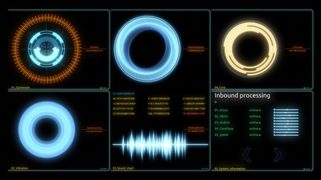 Futuristic Technology Interface Computer Data Screen. Various Animated Infographics Charts as HUD head-up display, Technology, Science, Data Analysis, Business, Finance or Economy illustrative backgro