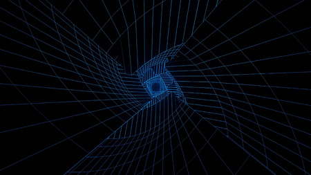 Infographic. Neon holographic tunnel. Animation of geometric tunnel in neon grid on black background