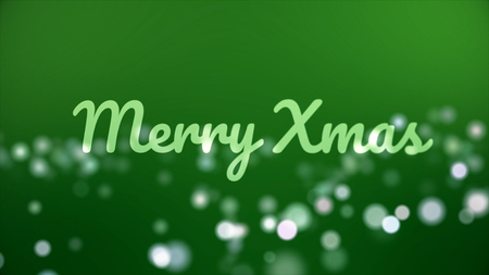 Merry christmas card. Christmas animation with greeting inscription, bokeh effect and green background. Abstract Christmas background animation