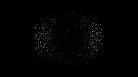 Animation of Sphere made of moving dots on black background. Metamorphose of amorphous shape from dots and lines. Dots on a regular grid surface perform chaotic movements and disperse in space Stock Photo