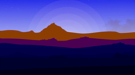 Cartoon ride near the mountains. Panning shot of a mountain ridgeline during a colorful sunset. Animated road in the evening. Animated Cartoon Desert Dunes on Sunset or Sunrise. Animated landscape, sunset