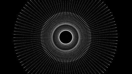 Futuristic circle background, tunnel made of colorful dots and light. Geometric Abstract Shape Loop with Alpha Channel. Geometric Light. Beautiful animation of multi-colored flying flickering particles
