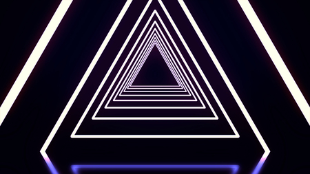 Beautiful abstract triangle tunnel with black, white, and purple light lines coming closer. Flying through glowing neon triangle tunnel on black background 写真素材