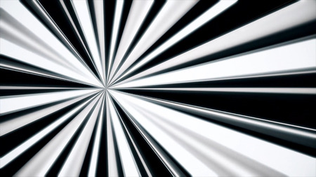 Abstract background of white rays. Striped moving background of black and white stripes emerging from one point like spotlight
