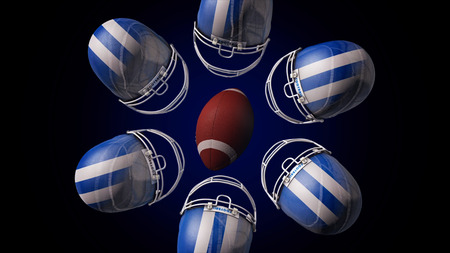 Abstract animation of a rugby ball and blue and white hemlets spinning and making a circle, isolated on black background. Rugby equipment, leather ball of american football rotating with hemlets. Stock Photo