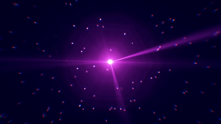 Abstract effect of living shining star in space. Moving shiny star reflects rays of light with highlights illuminating dark space.