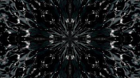 Abstract, monochrome symmetric pattern of feathers on black background, seamless loop. Kaleidoscopic abstract ovals sucked into the sentral point 写真素材