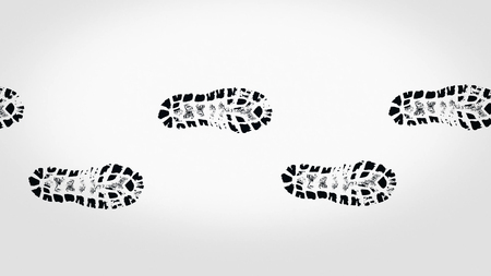 Abstract black footprints of boots on beige background, seamless loop. Many dark steps appearing on light brown background