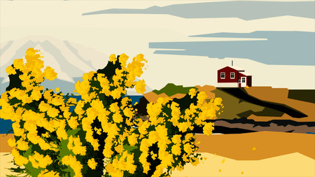 Cartoon animation of branches of mimosas in bloom, silhouettes of red house and high mountain in clouds on the background, abstract art concept. Mimosa bush swaying in the wind