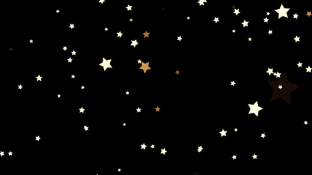 Beautiful, white shooting stars from bottom to top on black background, seamless loop. Small, five-pointed stars flying upwards chaotically, monochrome, kids cartoon, anime concept
