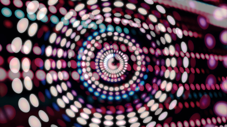 Colorful blinking circles moving in spiral with rows of dots on background, seamless loop. Abstract background with spiral particles of different colors 免版税图像
