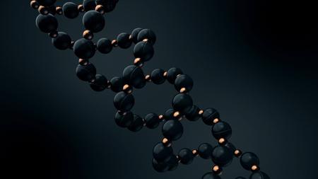 ADN digital, abstracto que consiste en esferas negras y bronce girando sobre fondo negro, bucle sin interrupción. ADN en espiral girando sin cesar.