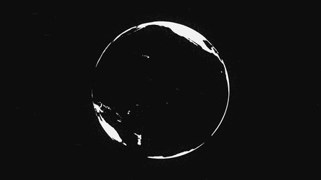 Black and white Earth planet rotating, isolated on black background. Abstract, monochrome terrestrial globe spinning, seamless loop. Фото со стока