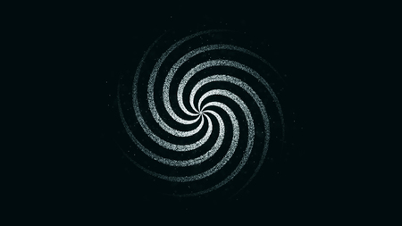 Abstract, spinning hypnotic dark white spiral, seamless loop, monochrome. Animation of rotating spiral on black background. Imagens