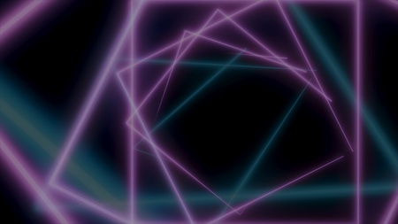 Moving neon simple square gates, forming a tunnel, seamless loop animation. Neon, colorful squares flying and rotating on bkack background.