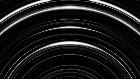 Abstract black and white circle beating on black background. Monochrome shimering curved lines moving slowly.