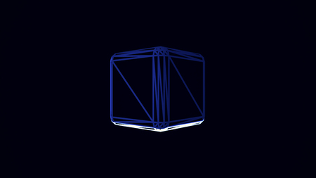 Animation with blue and white cube edges rotating on black background. Volume illustraction of the cube spinning chaotically, seamless loop.