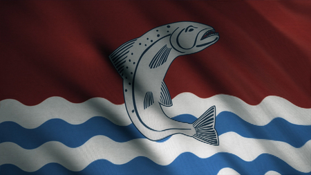 Abstract, colorful waving flag with a fish above blue and white waves, seamless loop. Emblem of Tully house 写真素材