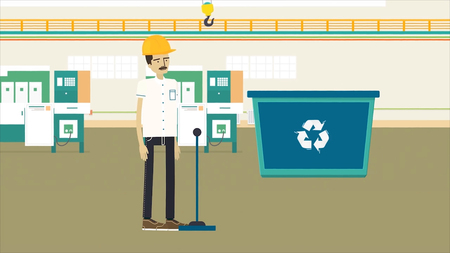 Colorful cartoon animation with a garbage recycling factory, ecology and environment concept. Worker in yellow helmet walking through the dark corridor to the waste recycling shop to pull the lever.