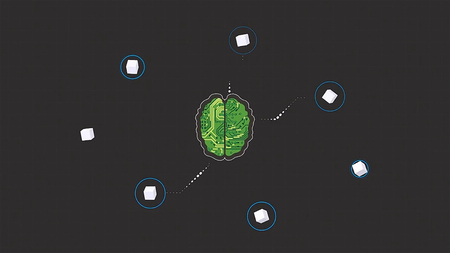 Cartoon animation of a brain as a microchip recieving signal waves on grey background. Brain head connect digital lines, expanding artificial intelligence, modern technology concept.