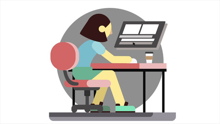Cartoon animation of an angry woman sitting at a computer, slams fist on table and drinks coffee. Stressed manager girl drawn schematically fails her work and becomes nervous.