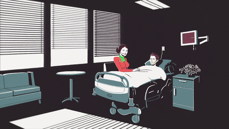 Animated cartoon with a dying man lying on a bed in the hospital and a woman sitting beside. Stop of heart beating of a young man on the EKG monitor in hospeace, illness and death concept.