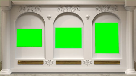 Art gallery with arcs in the wall and the chromakey spaces instead of paintings. Green screens on the wall at the museum. Reklamní fotografie
