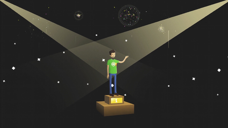 Successful young man standing on abstract pedestal on black background with photoflashes, fireworks and sophits, cartoon animation. Winner boy on pedestal waving his hand.