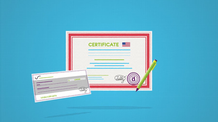 Close up for the certificate with a stamp and signature prepared for rewarding. Certificate with USA flag and a cheque on blue background.